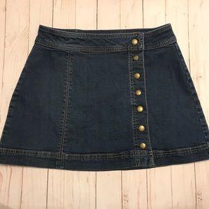 Free People Mini Denim Button Down Skirt Size 4